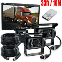 "7"" LCD Monitor+DC 12-24V Reversing 33Ft 10m HD CCD Camera Truck Caravan 4PIN USA"