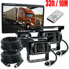 "7"" Monitor LCD 12V 24V Reversing Rearview CCD Camera Truck Caravan Car 4PIN Kit"