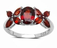 2.96ct Natural Earth Mined Red Garnet 925 Sterling Silver Ring  US 8 X0X KissHug