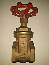 """New Old Stock 2"""" Inch Bsp Brass Valve Gate Valve With Red Handle Female X Female"""