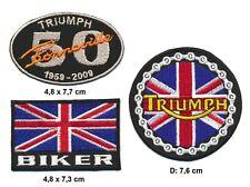 TRIUMPH Aufnäher Patch Bügelbild 3 Stück Motorrad Biker England
