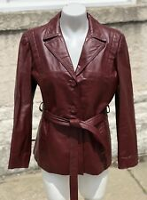 Vintage Genuine Bermans KOREA Womens Burgundy Leather Reporter Jacket Size 12