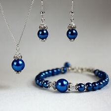 Dark blue pearls crystals necklace bracelet wedding bridesmaid jewellery set