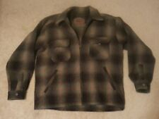 WOOLRICH Mens Large Blue Gray Plaid Wool Zip Front Hunting Jacket Coat EUC