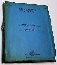 Forever Amber * 1945 Movie Script * Otto Preminger, 17th Century History Drama