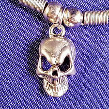 Alien skull pendant on Black wax cord necklace choker