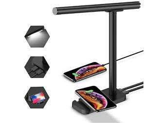 Multifunctional LED Black Desk Lamp w Wireless Charger 3 Lightening Modes NEW