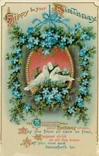 White Dove Lovebirds in Pearl Gold Frame~Art Nouveau Forget-Me-Nots~GEL Germany
