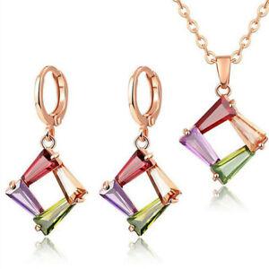 Jewelry Sets Rectangle Garnet Peridot Amethyst Gem Rose Gold Necklaces Earrings
