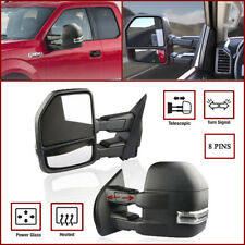 8 PIN Textured Power Heated Turn Signal Towing Mirrors For 15-18 Ford F150 Truck