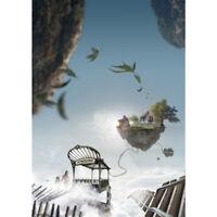 Poster METROPOLITAIN | metro air montagnes volantes iles art print A4 A3 A2