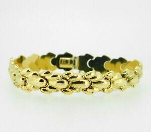 14k Yellow Gold Scallop Shell Link Bracelet (#J5065)
