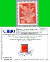 ITALIA 1944 G N R Tiratura VR PAerea 80c  MLH* VARIETà  n.120a CERTIF LUSSO