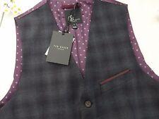 Ted Baker Dark Blue/grey Yonkwai Check Pattern Wool Waistcoat Size 2 S