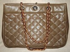 GIANNI BERNINI QUILTED LEATHER CHAIN TOTE SHOULDER BAG DARK TAN LARGE