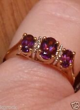 10KT YELLOW GOLD GENUINE UNTREATED TOP QUALITY AMETHYST  & DIAMOND  RING SIZE 7