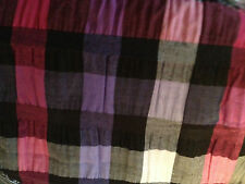 """Sewing Craft 53"""" Poly Cotton Pink Black Purple Plaid Check Stretch Fabric BTY"""