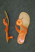 womens orange strappy flowered slip on heels shoes size 10 1/2