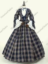 Victorian Vintage Dickens Plaid Tartan Dress Prairie Pioneer Woman Gown 158 XXXL