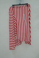 Lucy Paris Womens Maya Striped Asymmetrical Hem Midi Skirt Red XL