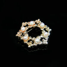 Sweet 4-5mm White Akoya Sea Cultured Pearl Floral Brooch Pin 950 Sterling Silver