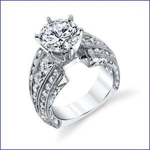 """Gregorio""  V. Large Inset Diamonds 2.18ctw Diamond Semi Mount G VS Platinum 950"