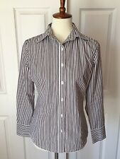 CAbi Women's Size Small Dark Gray Striped Button Down Dress Career Shirt Blouse