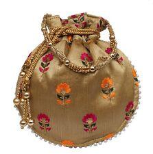 Designer Floral Embroidery Silk Potli Bag Pearl Handle Purse Women's Handbag F
