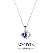 925 Sterling Silver Amethyst Crystal Cubic Zirconia Heart Pendant Necklace Chain