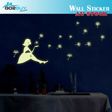 Glow In The Dark Dandelion Girl Removable Decal Wall Sticker Living Room Bedroom