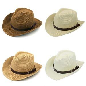 Summer Kids Boys Girls Straw Western Cowboy Cowgirl Hat Wide Brim Fedora Sun Cap
