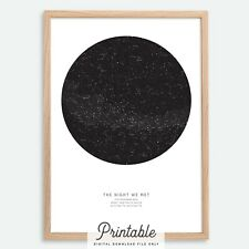 CUSTOM Printable Star Map | Night Sky Map Constellation Print | Wedding Gift BLK