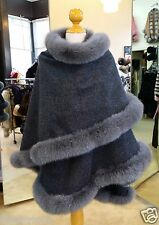 Fur Cape Gray Cashmere With Fox Fur Trim Beautifully Canadian Label