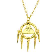 Anime Yugioh Millennium Wheel Wisdom Pendant Necklace Chain Gold Jewelry Gift