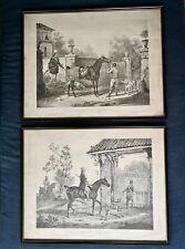 Deux Gravures chasse par Carle Vernet Départ et retour du Chasseur par Jazet
