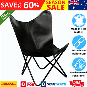Leather Butterfly Chair Luxury Vintage Style Home Decorative Accent Stylish Seat