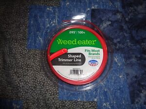 """Weed Eater Brand Replacement Shaped Trimmer Line .095"""" x 100' Ft Weedeater"""