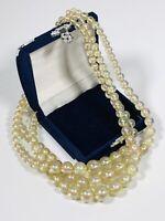 Vintage Necklace Multi Strand Graduated Lucite Beads Aurora Borealis Coated