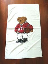 Ralph Lauren Sporty Bear Large Bath Beach Towel Designer NEW Unused White
