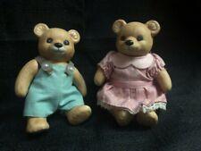 "Homco Ceramic Teddy Bear Mr & Mrs Figure Movable Arms Legs Lot 4"""