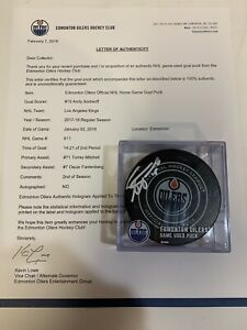 GAME USED SCORED GOAL PUCK ANDY ANDREOFF LOS ANGELES KINGS Signed