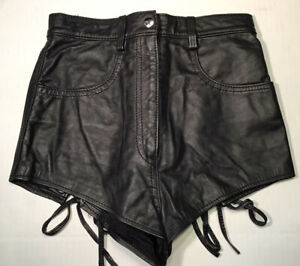 BRAND NWOT Northbound Leather Black Leather Lace Up Back Booty Shorts