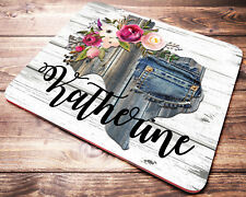 Personalized Texas Mouse Pad Floral Custom Name Desk Accessories Decor for Women