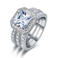 Halo 3Pcs Size 9 Womens 18K Gold Filled Trendy White Topaz Engagement Ring Sets