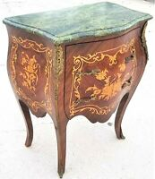 French Louis XV Style Petite Mahogany + Marble Bombay Chest w Gilt Bronze Mounts