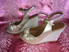 French Connection Gold Wedge Peep Toe Size 39 Size 6