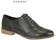 Ladies NATASHA Black Leather School Office Brogues Lace-up Size 3,4,5,6,7,8,9 UK