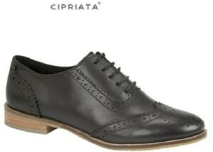 Ladies NATASHA Black Leather School Office Brogues Lace-up Size 3,4,5,6,7,8,9 UK