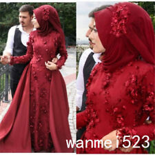 New Red Muslim Wedding Dress Long Sleeve Bridal Ball Gown With Scarf Custom made
