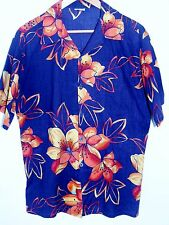 Vintage Sundek Purple Orange Gold Flower Hawaiian Shirt Womens Size XLarge 16